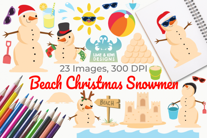 Beach Christmas Snowmen Clipart, Instant Download Vector Art