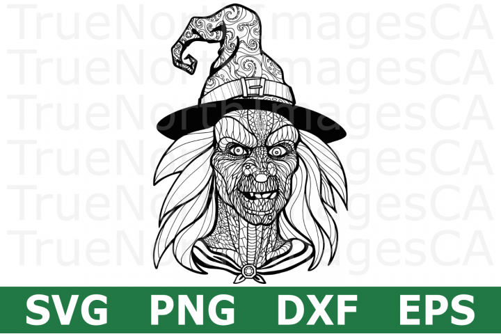 Zentangle Witch - A Halloween SVG Cut File