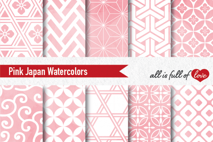 Pink Digital Paper Japanese Background Patterns