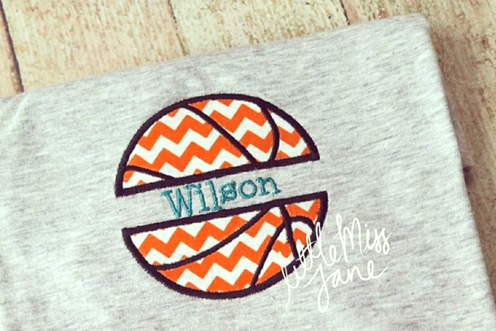 Basketball Split Applique Embroidery Design