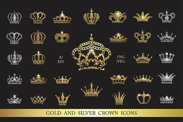 Set of gold and silver crown icons.