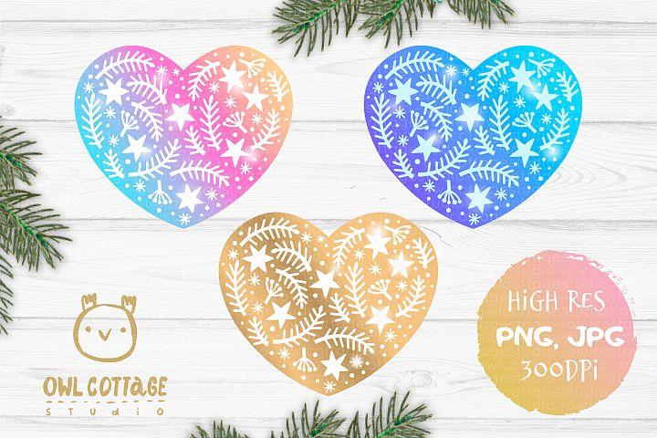 Rainbow and Golden X-mas Heart Sublimation Design, Christmas