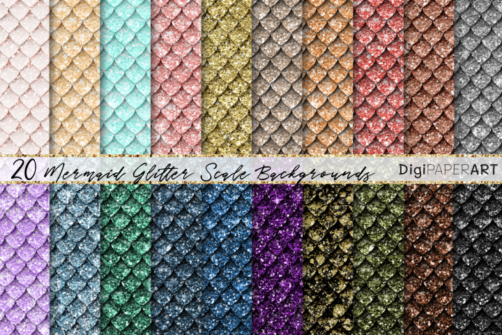 Mermaid Glitter Seamless Scales Digital Paper, Dragon Scales