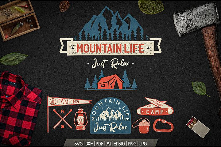 Mountain Life Logos, Retro Camping Badges T-Shirt SVG Cuts