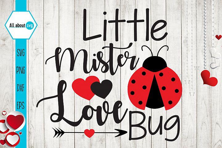 Little Mister Love Bug, Valentines Bug Svg