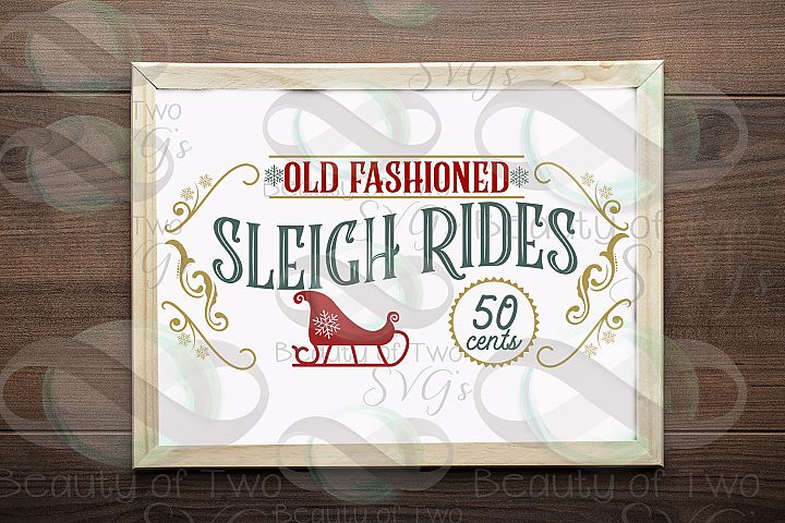 Christmas sleigh rides svg & png, Vintage Christmas sign svg