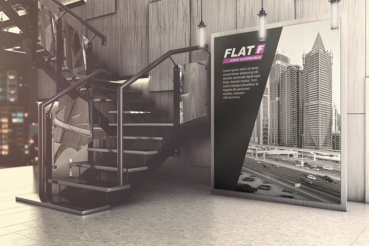 Indoor Business Hall Advertising Mockup
