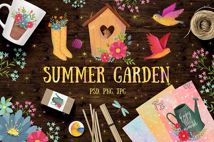 Summer garden clip art/ Flowers set