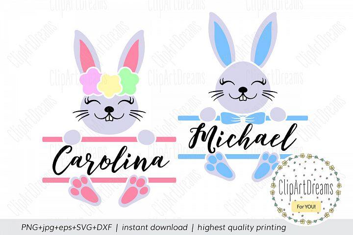 Bunny Split Monogram SVG, Easter Split Monogram SVG
