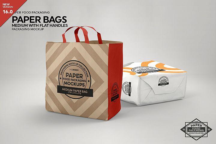MEDIUM Paper Bag with Flat Handles Packaging MockUp