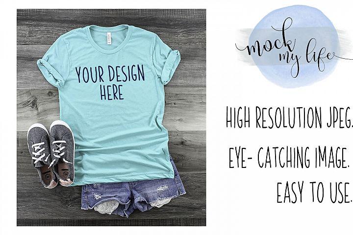 Mockup Bella Canvas Shirt / Flat Lay / Seagreen Shirt