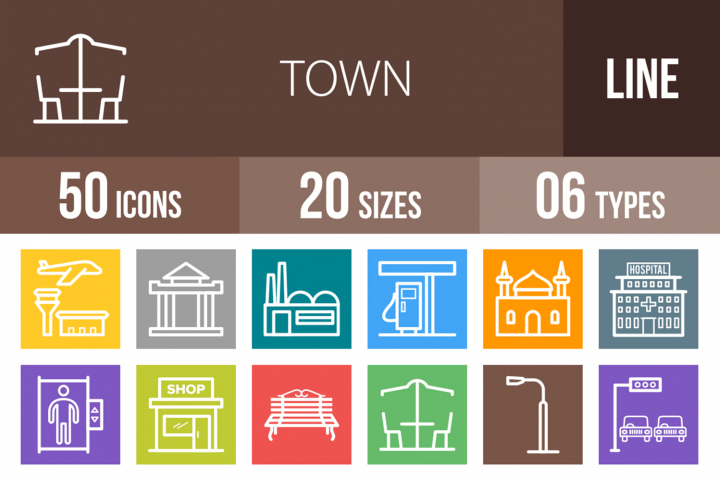 50 Town Line Multicolor B/G Icons