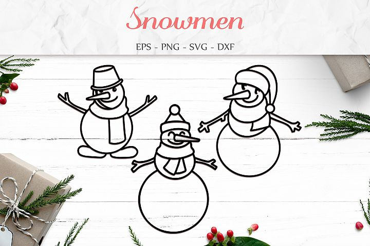 Snowmen Svg, Christmas Clipart, Winter Clipart Svg