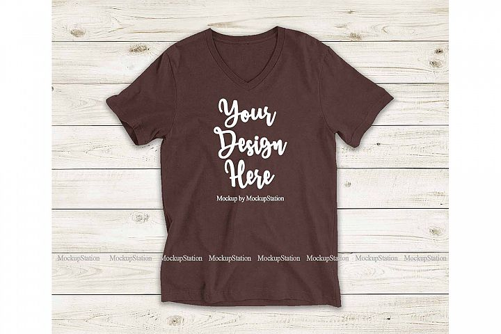 Brown Shirt Mock Up, Bella Canvas 3005 V-Neck Tee Mockup