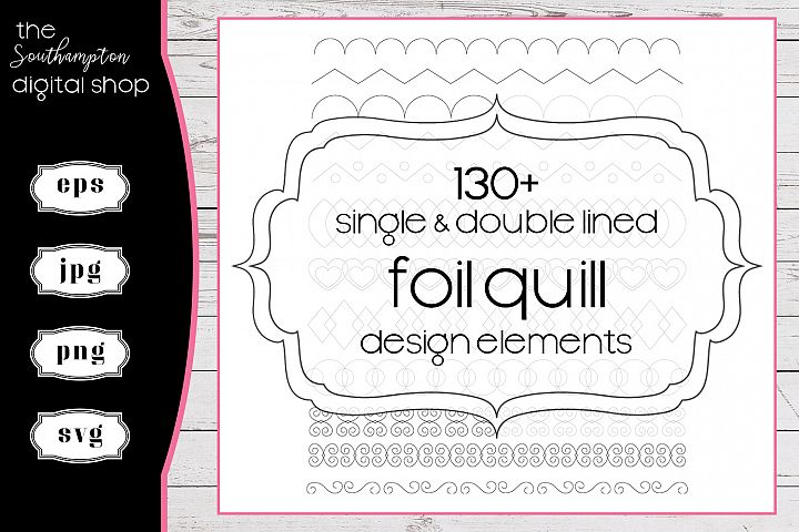 130 plus Foil Quill Single & Double Line Design Elements