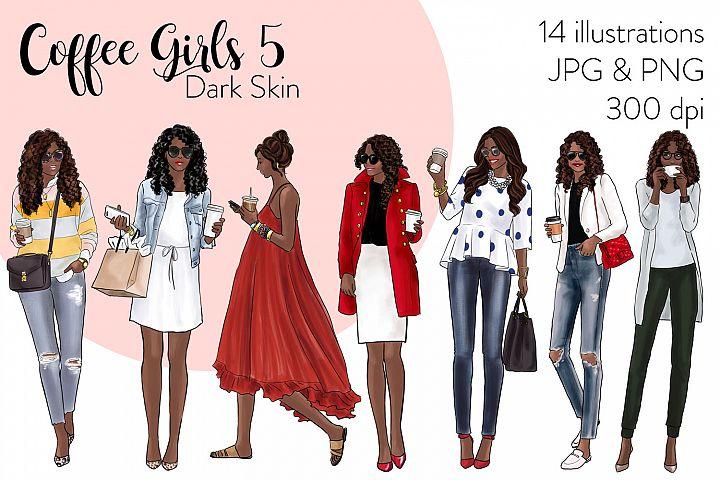 Fashion illustration clipart - Coffee Girls 5 - Dark Skin
