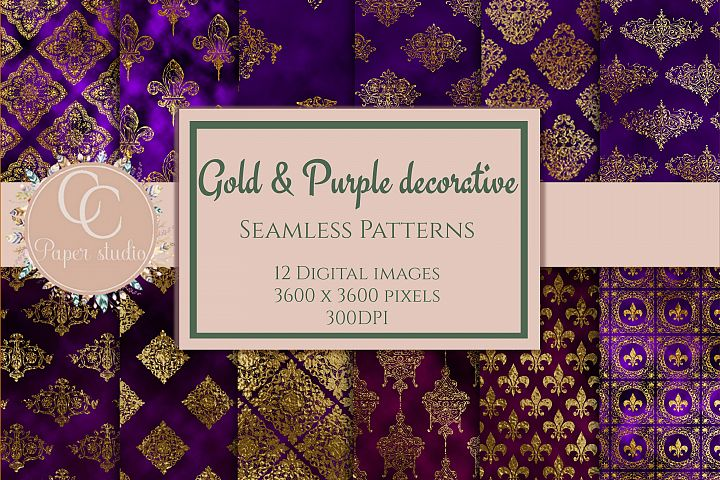 Gold and purple damask digital paper