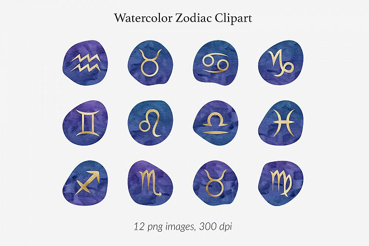 Watercolor & Gold Zodiac Signs