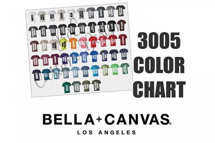 Bella 3005 V-Neck T-Shirt Color Chart