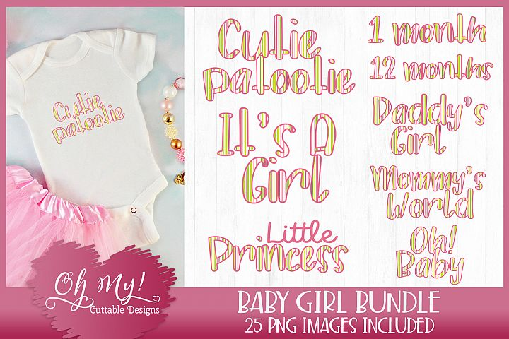 Baby Girl Stripes Bundle Clipart Graphics Word Art Print