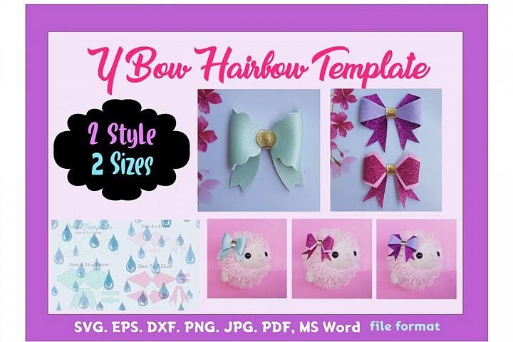 Hair Bow Template Bundle of 2style 2size SVG
