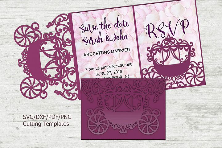Princess Carriage Wedding Invitation Trifold Quinceanera svg