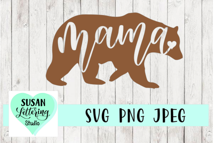 Mama Bear Hand lettered Script SVG