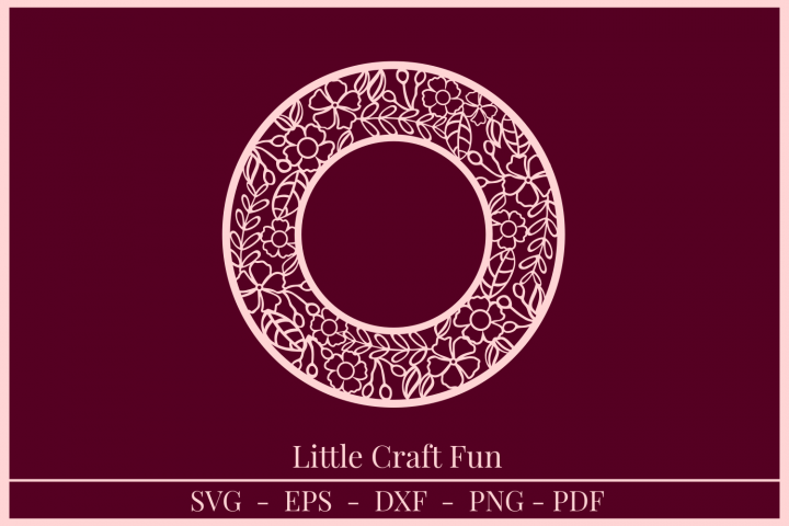 Circle Frame Flowers Silhouette Svg