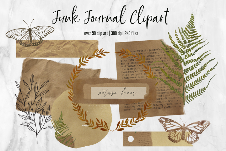 Junk Journal Clipart Collection | Old vintage Paper | Ferns