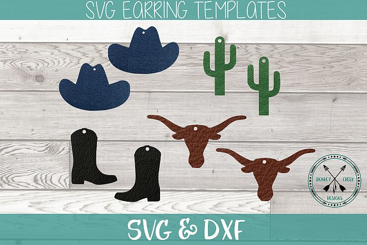 Western Earring SVG for Faux Leather Sheets