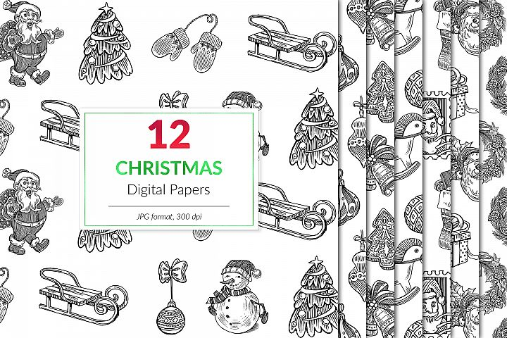 Minimal Christmas Digital Paper, Black And White Winter Patt