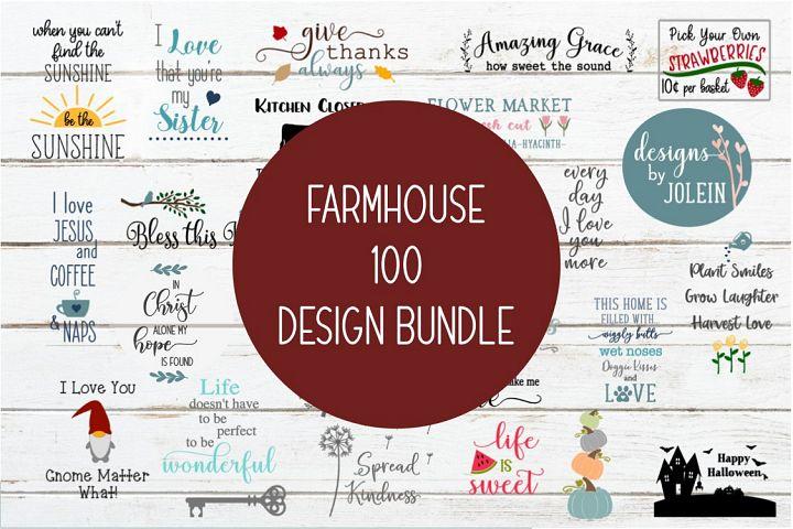 Farmhouse 100 Design Bundle SVG, png, eps, sublimation