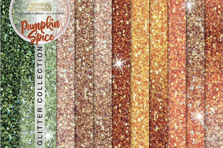 Pumpkin spice- Autumn seamless Glitter backgrounds