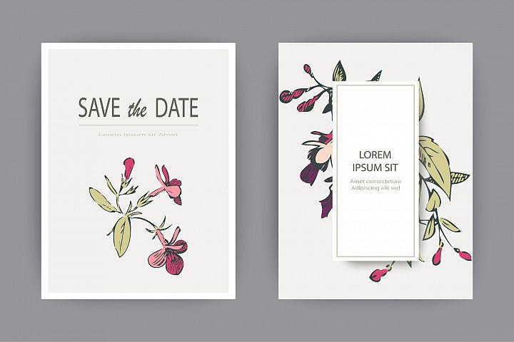 Fuchsia flowers wedding invitation card template design