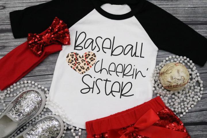 Leopard Baseball Heart - Baseball Cheerin Sister SVG