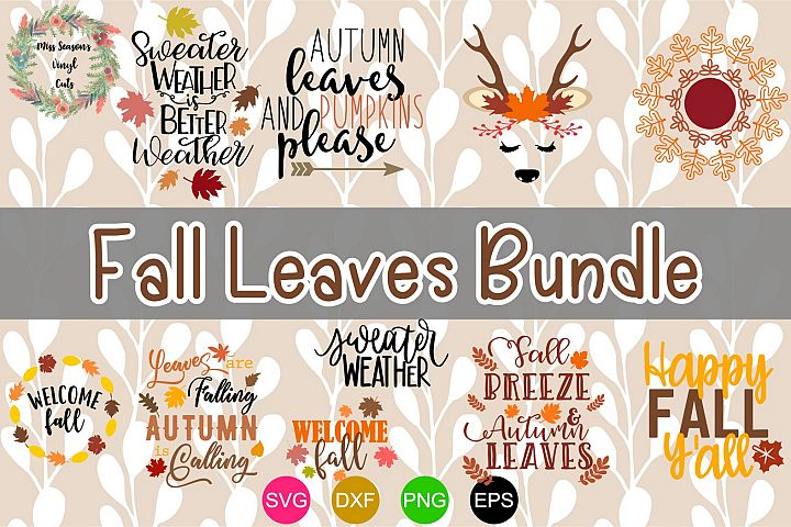 Fall Leaves Bundle SVG, Dxf, Eps,Png 10 designs