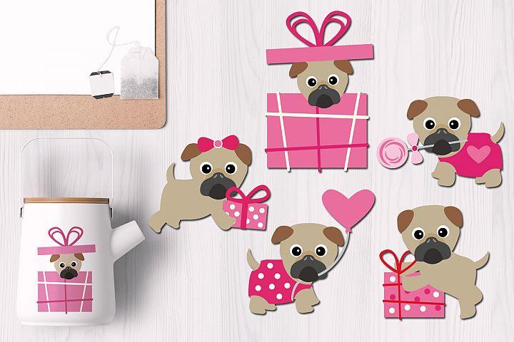 Pink Valentine Pug Dog