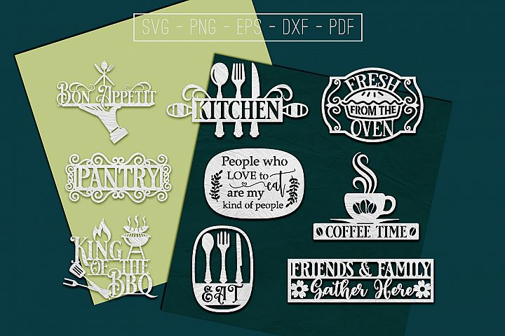 9 Kitchen Paper Cut Templates Bundle, Cooking SVG, PDF, DXF
