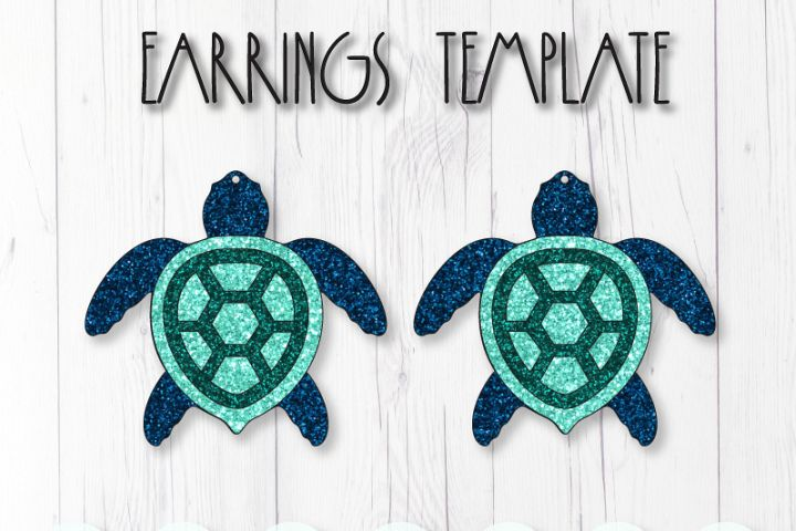 Sea turtle earrings template SVG, DIY earrings template