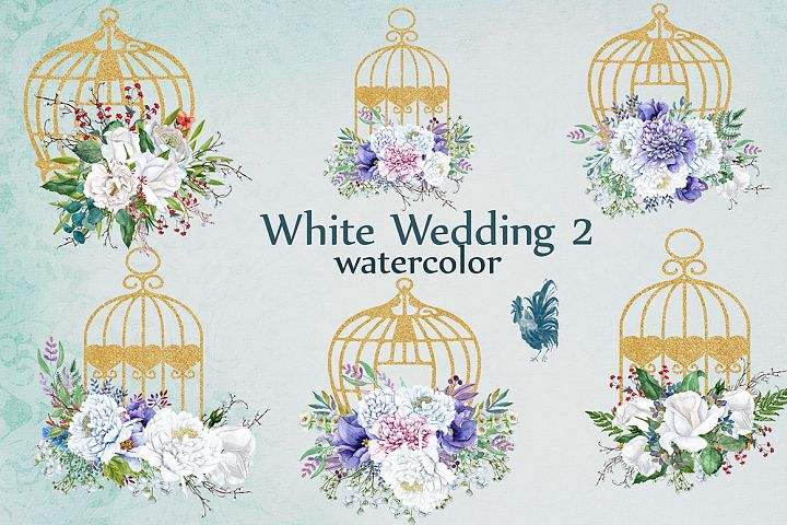 Watercolor white flowers clip art