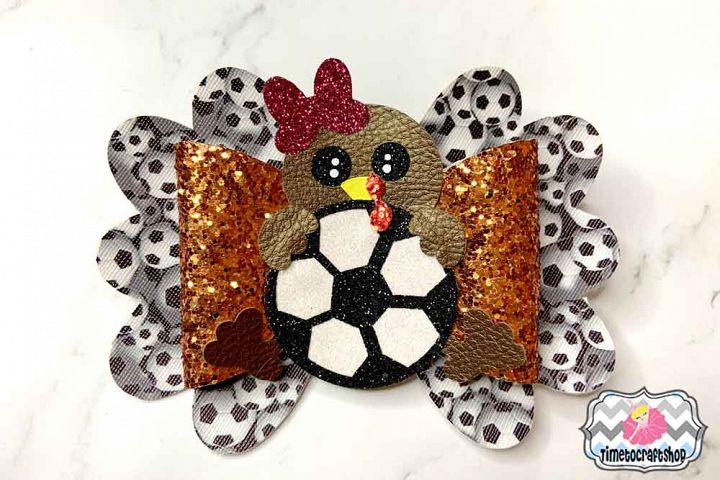 Thanksgiving Turkey Soccer Hair Bow Template, Cheer Bow