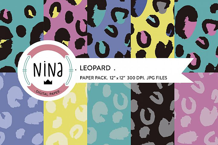 Animal Print Digital Paper , Leopard print in pink and mint