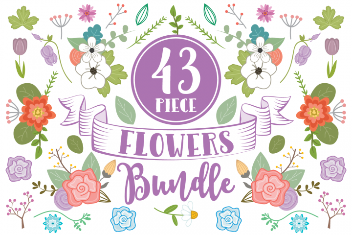 43 Piece Floral Flowers Clip Art Bundle