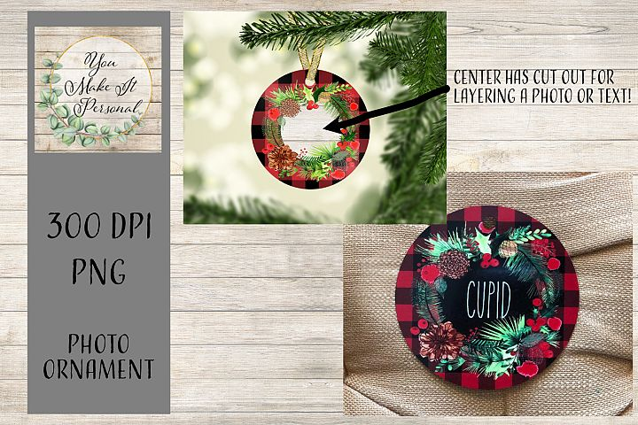 Sublimation Ornament Template -Buffalo Check with Wreath