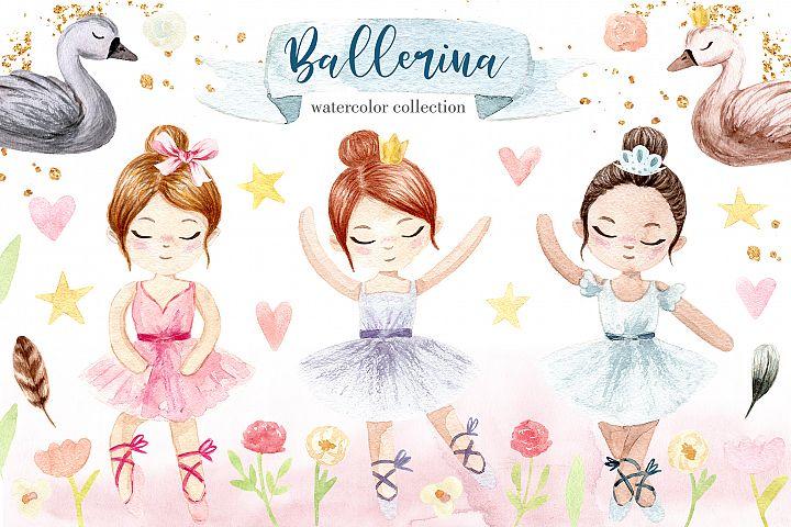 Watercolor Little Ballerina. Pattens