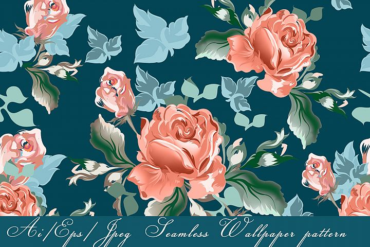 Vector vintage pattern with pink watercolor roses