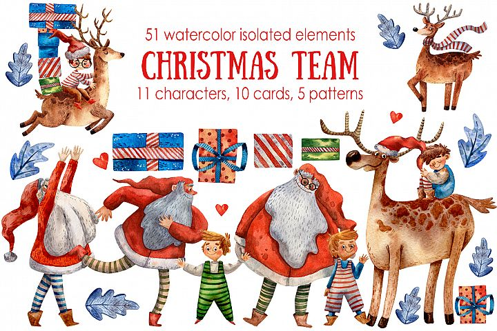 Christmas Team - Watercolor Clip Art Set
