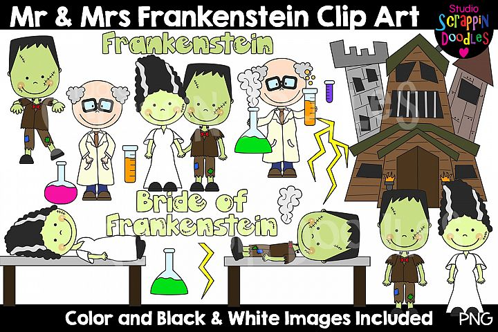Mr & Mrs Frankenstein Cliip Art - Bride of Frankenstein