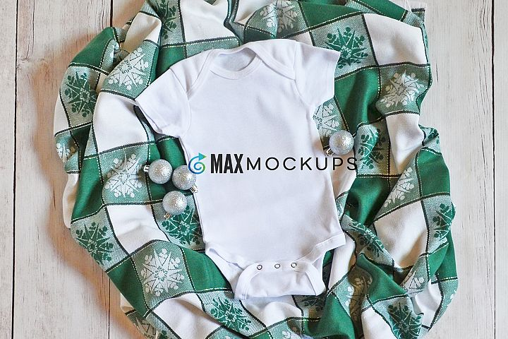 Baby bodysuit Mockup, Christmas, styled flatlay, stock photo