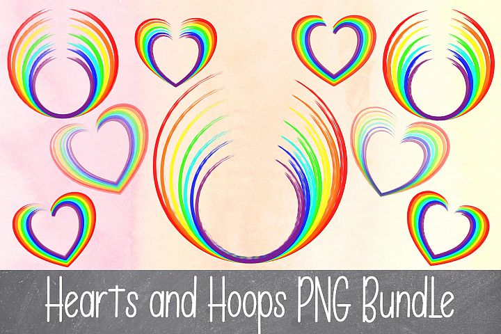 Sublimation Rainbow Hearts and Hoops PNG Bundle 9 files